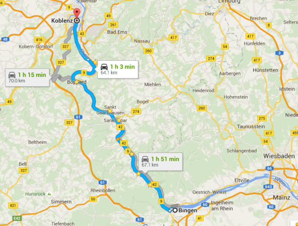 Middle Rhine Valley Scenic Route - Roaming Required