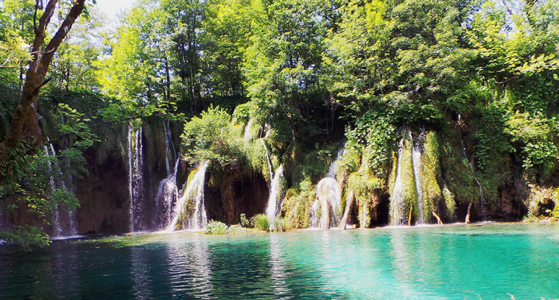 Turquoise waters of Plitvice lakes in Croatia