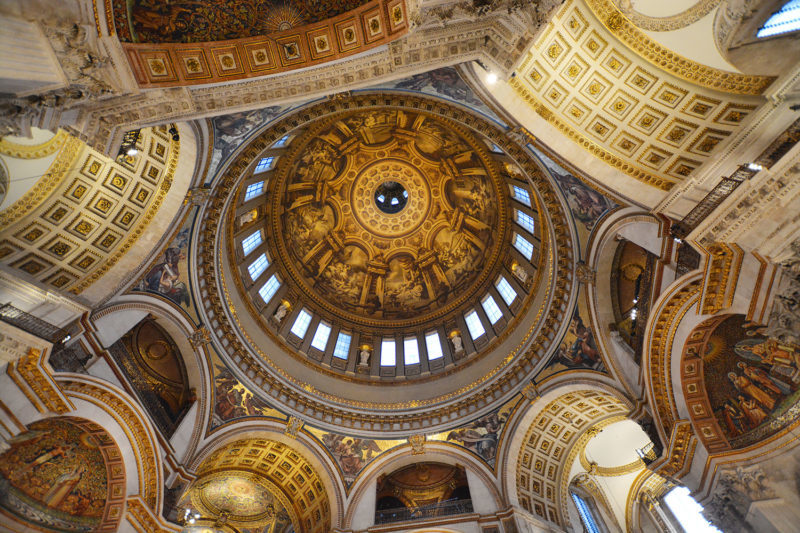 Looking up from the Cathedral floor into the impressive dome of St Paul's Cathedral