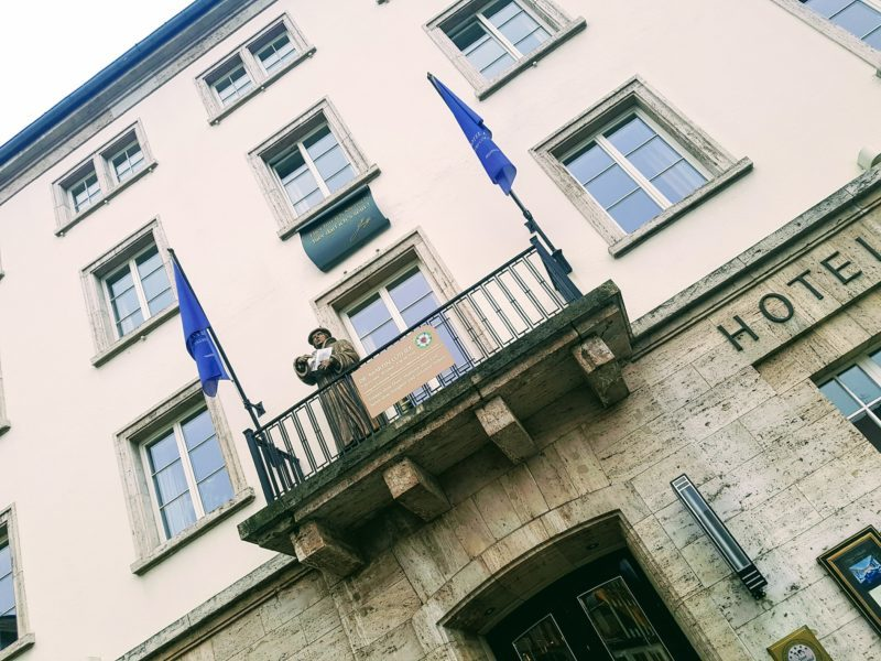 The famous balcony at The Elephant Hotel, Weimar, Germany