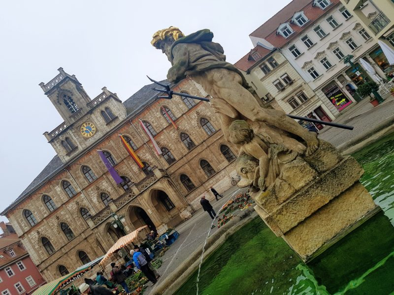 Weimar Rathaus and Neptune Fountain