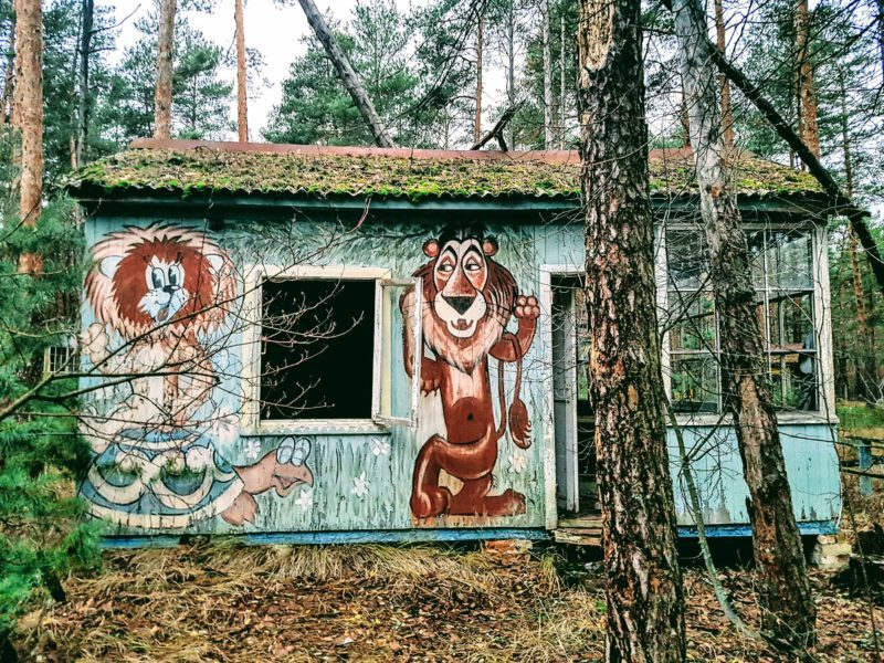 One of the cabins at the Chernobyl worker's recreation park