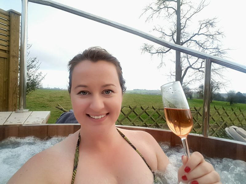 Prosecco in the hot tub, Fishmore Hall