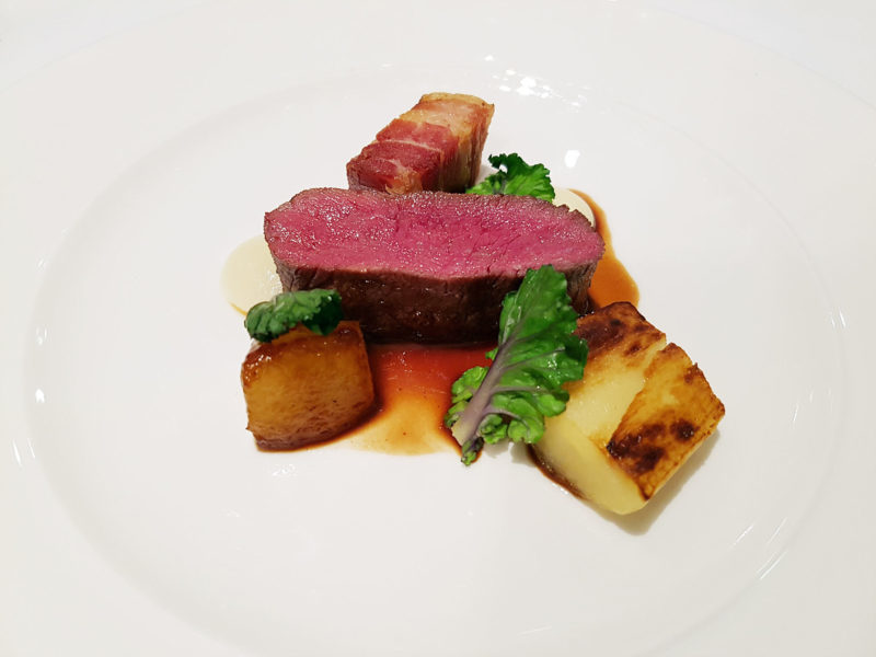 Forelles Restaurant Loin of Scottish Venison, Parsnip, Smoked Bacon, Pear and Dark Chocolate Sauce