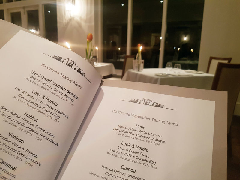 The menu at Forelles restaurant, Fishmore Hall