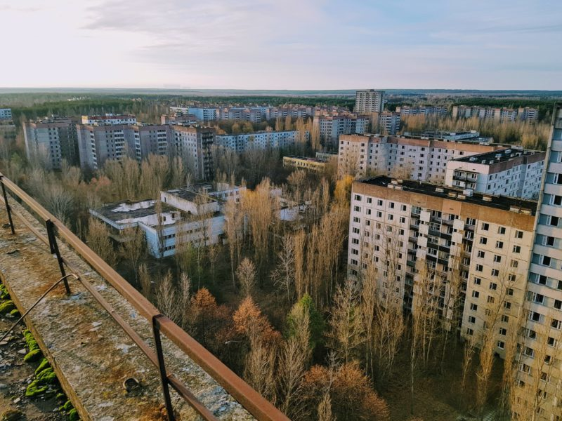 The view of Pripyat from atop the apartment building