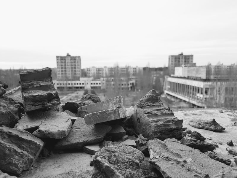 Aerial photo of Pripyat town centre