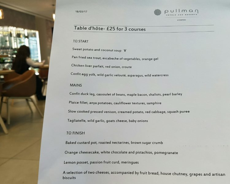 Table d'hôte menu at Pullman Liverpool