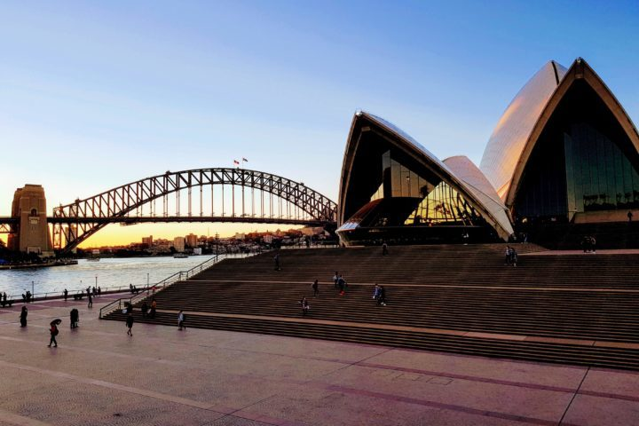 Sydney Harbour Bridge and Sydney Opera House at dusk