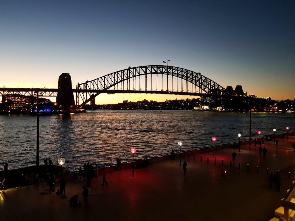 Sydney opera house and harbour bridge - Sydney Harbour Bridge At Dusk