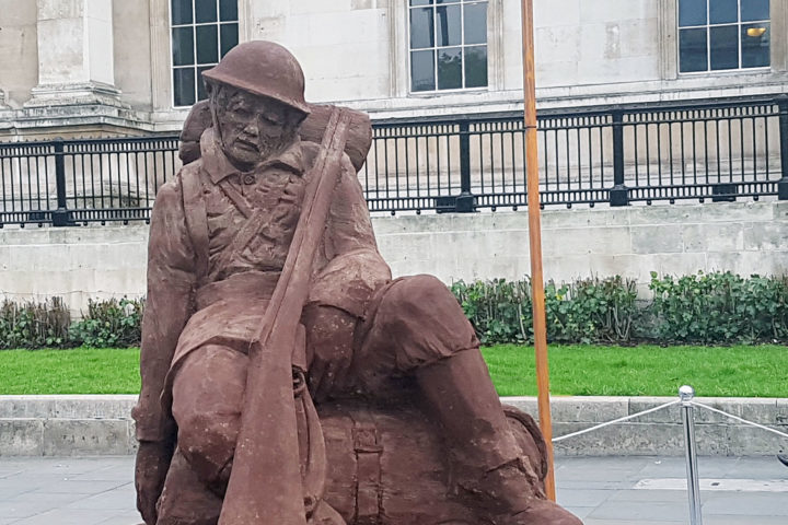 A mud soldier sculpture has been unveiled in London today to commentate the centenary of the battle of Passchendaele.