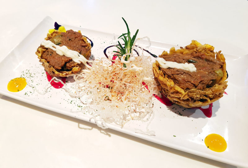Tostones Rellenos Con Ropa Vieja (fried plantain stuffed with pulled beef) at Little Havana London
